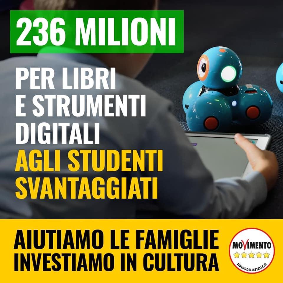 236 agli studenti svantaggiati per libri e strumenti digitali