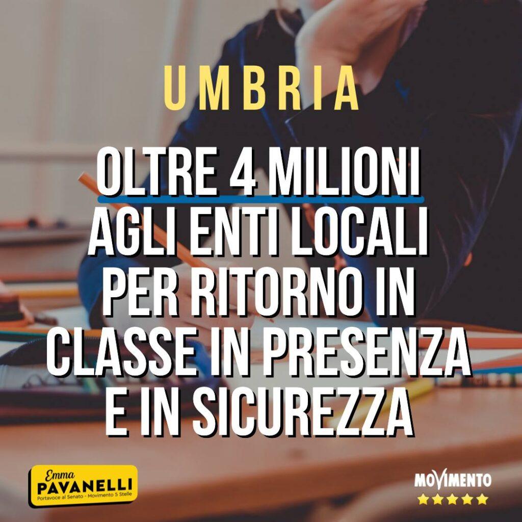 Scuola, oltre 4 mln agli enti locali umbri per ritorno in classe in presenza e sicurezza